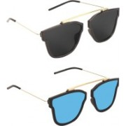 Pogo Fashion Club Retro Square Sunglasses(Black, Blue)