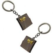 Stylewell(Set Of 2) Unisex Plain Photo Album Metallic Toy Key Ring/Keychain For Bikes/Scooty/Cars (Copper)