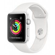 Watch, Apple Series 3 GPS, 38mm Silver Aluminium Case with White Sport Band (MTEY2S/A)