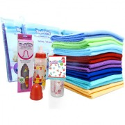 Combo set of Large baby Dry Mat Sheet and feeding bottles.