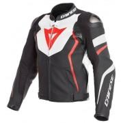 Dainese Avro 4 Leather Jacket Black Matt/White/Fluo Red 52