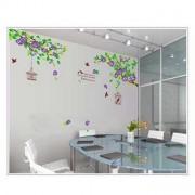 TipTop Wall Sticker Lila blommor och Birdcage