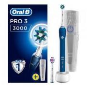 Електрическа четка за зъби Oral-B Pro 3 3000 CrossAction, 2 режима на почистване, сензор за налягане, Синя