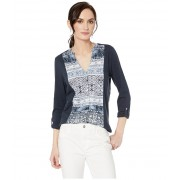 Lucky Brand Printed Button Front Top Navy Multi