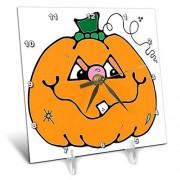 3dRose DC_131121_1 Reloj de Mesa de Calabaza para Halloween, 15,2 x 15,2 cm