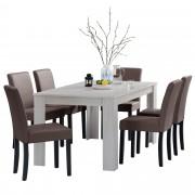 [en.casa]® Blagovaonski stol - rustični hrast - 160x90 cm - sa 6 tapeciranih stolica - smeđe - Zagreb