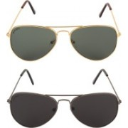 David Martin Aviator Sunglasses(Brown, Green)