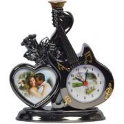 Stylewell Stylish Elegant Designer Guitar Shape Metallic Silver Color Analog Alarm Table Desk Time Photo Frame Clock