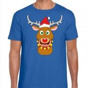 Bellatio Decorations Foute Kerst t-shirt rendier Rudolf rode kerstmuts blauw heren