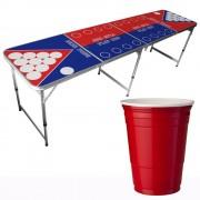 StudyShop Beer Pong Bord (med Flip Cup) inkl. 25 st röda muggar