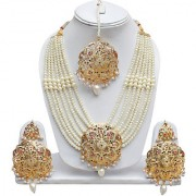 Lucky Jewellery Navratan Multi Color Gold Plating Multi Layered Pearl Stone Necklace Set For Girls & Women