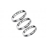 Guangzhou Zhangmafushi Co.,Ltd t/a Wish-Imports £8.99 instead of £19.99 for three faith, love and hope rings in sizes L, N, P or R from Wish Imports - save 55%