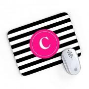 Mouse Pad Monograma Rosa Listrado Preto Inicial C 24x20