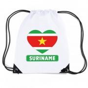 Bellatio Decorations Suriname hart vlag nylon rugzak wit