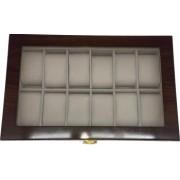 Cutie pentru 12 ceasuri din lemn si geam de protectie