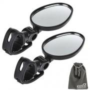 EEEKit Espejo Retrovisor Bundle para Bicicleta Ciclismo, 2 Pack rotaty Mini Universal Retrovisor manubrio Espejo (Cristal Accesorios Bolsa, Adjustable Strap Mirror