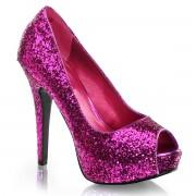 Merkloos Peeptoe pumps met roze glitters
