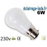 Ampoule led B22 liquide 6w SMD blanc naturel 4500K 230v AC ref f004-3
