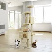 PawHut Rascador para Gatos tipo Centro de Juegos con Árbol y Poste para Arañar - Color Beige - 55x60x181cm