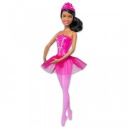 Barbie barna bőrű barna hajú balerina baba rózsaszín ruhában