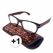 Merkloos Modieuze leesbril +1 in panterprint