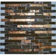 Maxwhite JSM-JB044 Mozaika skleněná kamenná zelená hnědá 30x30cm