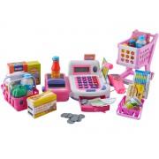 Set XXL casa de marcat cu afisaj LCD, Scanner, Cantar, Cos, Carucior Cumparaturi si alte accesorii pentru copii