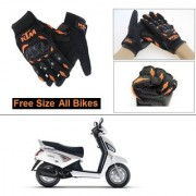 AutoStark Gloves KTM Bike Riding Gloves Orange and Black Riding Gloves Free Size For Mahindra Gusto