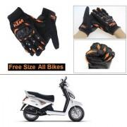 AutoStark Gloves KTM Bike Riding Gloves Orange and Black Riding Gloves Free Size For Mahindra Gusto