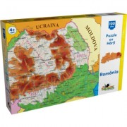 Puzzle cu harti, Harta Romaniei, 100 de piese Noriel