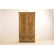 Devonshire Rustic Oak Gents Double Wardrobe With 1 Drawer