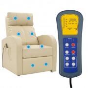 vidaXL Massagefåtölj med kontroll gräddvit