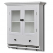 White Wooden Kitchen Wall Cabinet with Glass Door