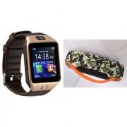 Mirza DZ09 Smart Watch and Mini Xtreme K5 + Bluetooth Speaker for LG leon (DZ09 Smart Watch With 4G Sim Card Memory Card| Mini Xtreme K5 + Bluetooth Speaker)
