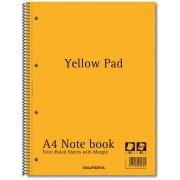Caiet cu spirala, A4, 80 file - 80g/mp, 4 perforatii, coperti carton, AURORA - dictando-hartie galbe