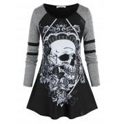 Rosegal T-Shirt d'Halloween Tunique Motif de Crâne et de Fleur Grande-Taille 2X