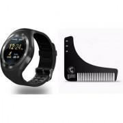 Style Maniac Y1 BLUETOOTH WITH SIM CARD SD CARD SUPPORT BLACK Smartwatch (Black Strap Free) Beard Shaper Comb
