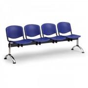 Kovo Praktik Plastové lavice ISO II, 4-sedák, chrom nohy modrá