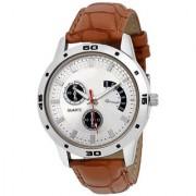 Lorem Silver Round Dial Brown Leather Strap Men Quartz Watch for Men 6 month warranty