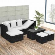 vidaXL Градински комплект с възглавници, 4 части, черен полиратан