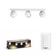 Philips HUE White Ambiance 50473/31 / P6 BUCKRAM spot 3xGU10 5.5W / 750lm 2200-6500K + SWITCH bílá Bluetooth