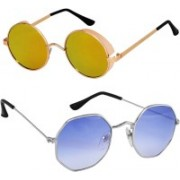 Rich Club Round Sunglasses(Golden, Blue)