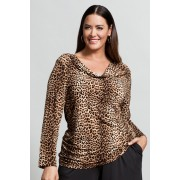 Womens Sara Knit Drape Top - Animal Print