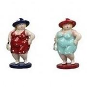 Geen 2x Dikke staande dames beeldjes 20 cm in rode/lichtblauwe jur - Action products