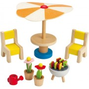Hape Happy Family Doll House Furniture Patio Set, Multi Color