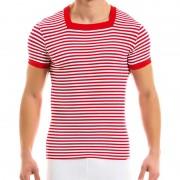 Modus Vivendi Marine S Stripe Square Neck Shirt Short Sleeved T Shirt Red 10842