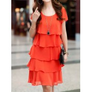 Ruffle Tiered Hem Loose Fit Pure Color Dress
