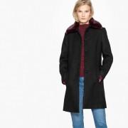 Manteau en mélange laine, col imitation fourrure