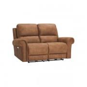 Oak Furnitureland Brown Fabric Sofas - 2 Seater Electric Recliner Sofa - Colorado Range - Oak Furnitureland