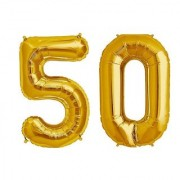 Stylewell Solid Golden Color 2 Digit Number (50) 3d Foil Balloon for Birthday Celebration Anniversary Parties